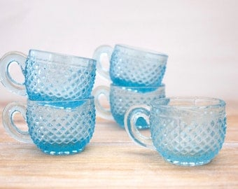Five vintage blue glass shot glasses - Aperitif glasses - Set of five small liquor glasses depression glass - Blue depression glass glasses