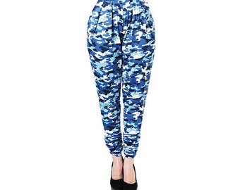 Blue Camouflage Jersey Trousers (Petite)