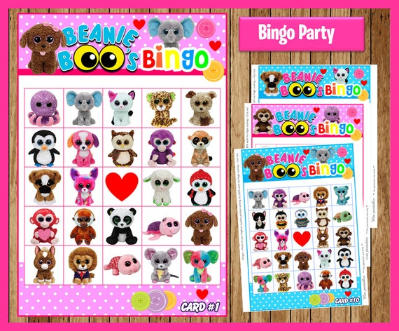 Beanie Boo Bingo game instant download, Printable Beanie Boo party game, Beanie Boo Bingo game