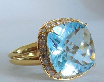 Ring 18 CT, Topaz gold + diamonds