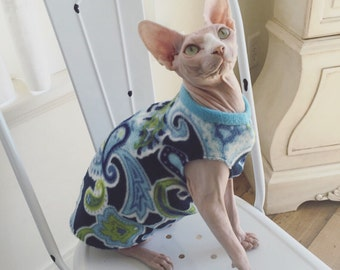 Cozy sphynx cat clothing in blue and green fleece