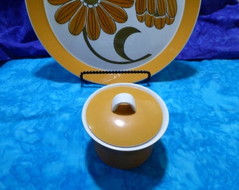 Vintage Mid-Century 70s Mikasa Duplex Inspire Covered Sugar Bowl with Lid