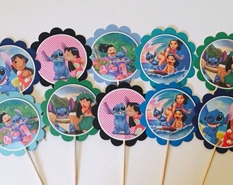 12 LILO and Stitch cupcake toppers OR favor tags, birthday decorations, LILO ans Stitch party favors