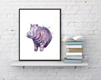 Hippo Watercolor Art Print - Printable Hippopotamus Artwork - Digital hippo download, Hippo wall art, African Safari Art, Hippo wall print