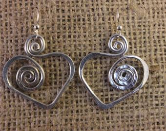 Hand hammered Aluminum Heart earrings