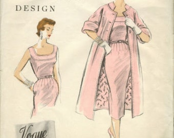 1954 Vintage VOGUE Sewing Pattern B34 DRESS & COAT (1115) Vogue 797