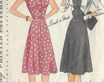 "1940s Vintage Sewing Pattern DRESS B32"" (R479) Simplicity 4222"