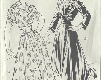 "1940s Vintage Sewing Pattern DRESS B34"" (R126) Style 4858"