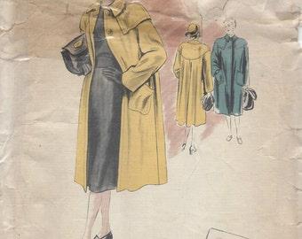 "1940s Vintage VOGUE Sewing Pattern B34"" COAT (108)  Vogue 360"