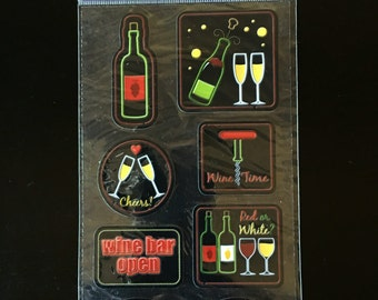 Scrapbook Stickers - Dimensional Embellishments - Sticko Drinks Delight Theme - Wedding Reception Celebration - Photo Album - Wine - Cheers