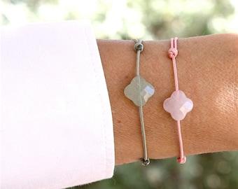 Cord bracelet clover gemstones to choose from rose quartz or aventurine