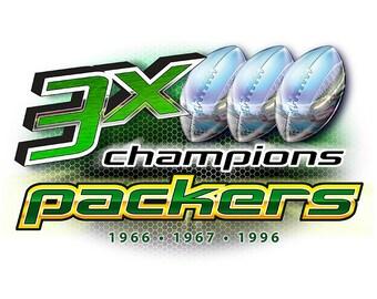 Packers 3x Champions Green Bay T-shirt, tank or sleeveless M L XL 2X 3X 4X 5X Women Ladies Men NEW