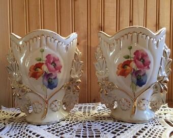 Antique gold trim floral vases - pair