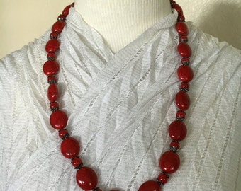 Red Stone Beaded Necklace!!