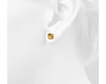 4mm Citrine Earrings 925 Sterling Silver Earrings Citrine Stud Earrings Gemstone Post Earrings Yellow Color Earrings Jewelry