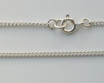 "925 Sterling Silver Curb Chain Bracelet Necklace Ankle Chain Anklet 6"" to 30"" - 1.6mm x 2.1mm Width Link"
