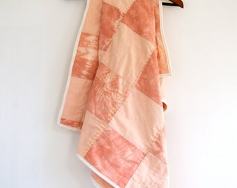 Hand-dyed Shibori Cotton - Lap Quilt - Baby Quilt - with Hand-embroidered detail - Chalk Pink and Peach