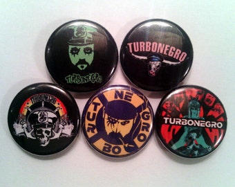 "5 x Turbonegro 1"" Pin Button Badges (st pauli music retox party animals punk rock music )"