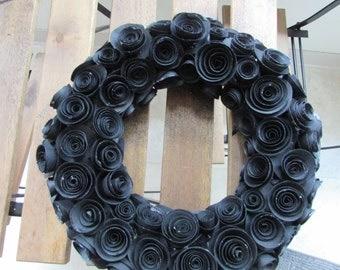 Handmade Black Paper Rose Wreath
