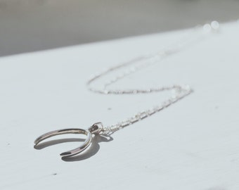 Silver Wishbone Pendant Necklace