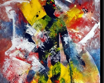 "Contemporary acrylic canvas, colorful ""Charlot"""