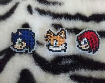 Cross Stitch Sonic the Hedgehog Badges