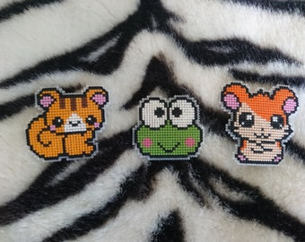 Cross Stitch Kawaii Animal Badges