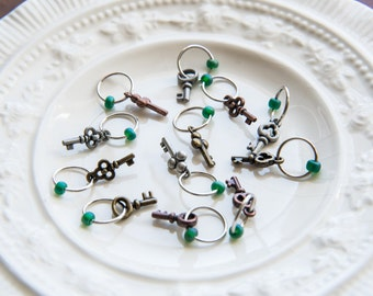 Steampunk Inspired Mixed Metal Keys No Snag Stitch Markers - Set of 12