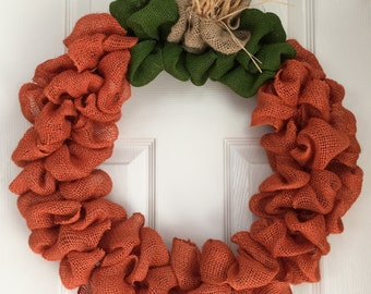 Burlap Pumpkin Wreath - Pumpkin Burlap Wreath - Fall Wreath for Front Door - Autumn Wreath - Holiday Wreath