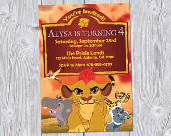 Lion Guard Invitation 5x7, Lion Guard Birthday Invitation, Lion Guard Party, Printable Digital Invitation, Lion King, Kion
