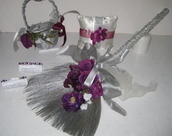 Blinged Out Silver Broom with Flower Basket, Ring Bearer Cushion and Hair Combs
