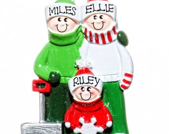 Personalized Ornament- Shovel Family Three Parents and 1 kid- Free Bag Included