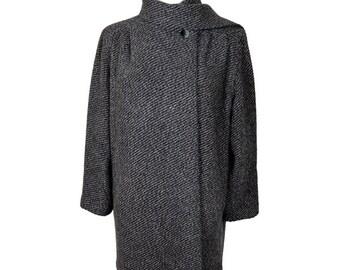 80's Wool Scarf Coat in Grey UK 12/14