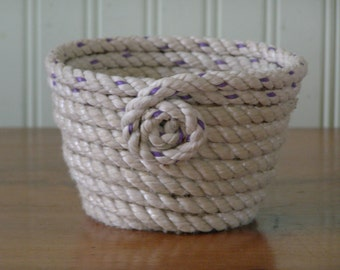 Recycled Lobster rope coiled basket _handmade_hostess gift_bridesmaid present_flower pot_ecofriendly_Maine_ cottage decor_bath accessory