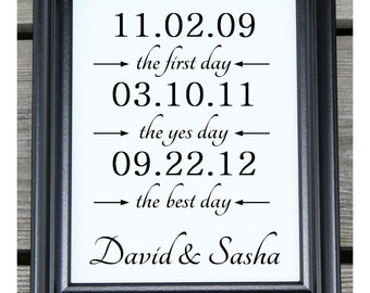 First Day Yes Day Best Day Cotton Print   Anniversary Cotton   Personalized Dates   Personalized Wedding Gift   Personalized   Wedding Dates