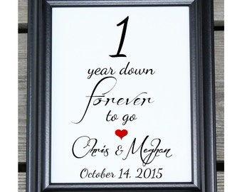 1 year down 1 year of marriage 1 year anniversary 1st wedding anniversary