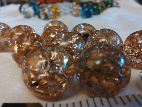 Clear Colored Marbles : Cracked clear peach colored glass marbles inch