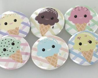 Kawaii Ice Cream Button Badge Pack, 1.5in Kawaii Buttons, Ice Cream Buttons , Chocolate Button Badge, Vanilla Button, Magnet, Key Chain