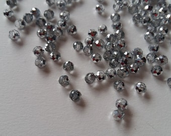 Bulk Grey rondelle beads / gray glass crystal beads / dark grey round beads / grey beads 6mm / light grey rondelle / dark gray faceted bead