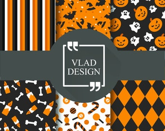 6 ready to print patterns Halloween patterns Halloween party patterns Digital paper pack Printable paper pack