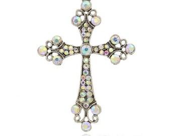 1 - Large Silver Rhinestone Crystal AB Iridescent Sparkling Wedding Bridal Shower Rosary Cross Pendant Charm