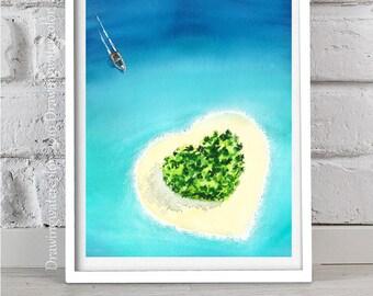 Original Watercolor Painting Sea watercolor Beach blue Home decor Watercolor boat Sun painting Nature painting Island sea Island watercolor