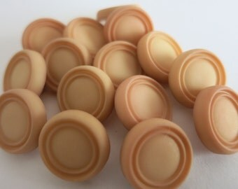15 Buttons 14mm Plastic, Pale Brown Shank Back A71