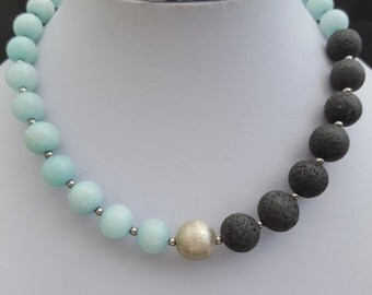 Necklace baby blue and black