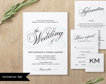 Printable Wedding Invitation Template, Wedding Invitation Set, DIY Wedding Cards, Instant Download, Editable PDF, Calligraphy #SPP014wis