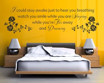"""Aerosmith Wall Sticker, """"I Could Stay Awake Just To Hear You Breathing ..."""" Wall Art Sticker, Vinyl Decal."""