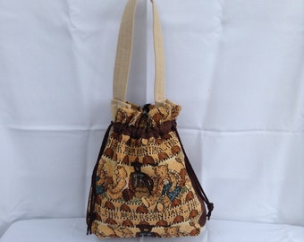 Bear Essentials Tapestry Drawstring Bag/Purse/Tote/Shoulder Bag/Handbag