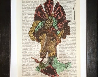 Elegant Giraffe - Victorian collage on dictionary page - vintage prints