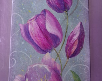 Pink Tulips Original Oil Painting Large Wall Decor Rain drops on the Tulips Spring Flowers *Rainy Tulips*