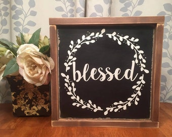 """13.5""""x13.5"""" Blessed Wreath/wood sign/word art/distressed sign/wall décor/rustic"""